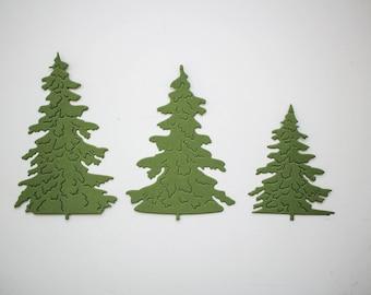 Christmas tree die cuts - Green trees scrapbooking decor - Christmas card making supplies - winter album decor paper pine tree embellishment