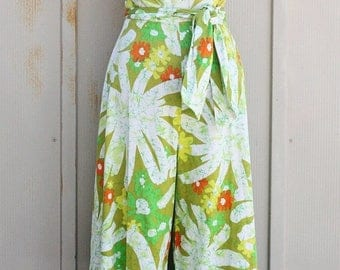 Vintage Pantsuit Romper - Alice Polynesian Fashions Floral Romper - Groovy 60s One Piece Outfit - Psychedelic Playsuit - Hawaiian Maxi Dress