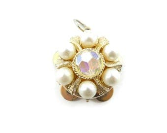 Vintage Faux Pearl Pendant, Tambourine Style