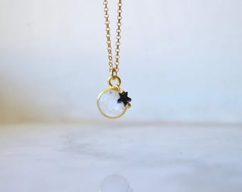 Tiny moonstone necklace, tiny star necklace, gold moonstone necklace, bezel moonstone necklace, moonstone necklace