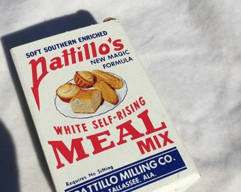 Vintage 1950's  Pattillo's White Self-Rising Meal Mix Free Sample Box, Pattillo Milling Co, E Tallassee, Alabama, Miniature Corn Meal Box