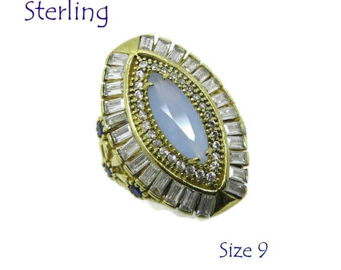 Vintage Tanzanite Ring - Sterling Silver Cocktail Ring - Faux Tanzanite & CZ Ring, Size 9, Gift Box, Perfect Gift