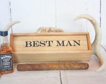 Groomsmen proposal Groomsmen Gift Best Man Gift Cigar Box Bridal Party Gift