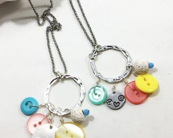 Button Necklace - Pastel - Peace Love Happiness - Diffuser Necklace