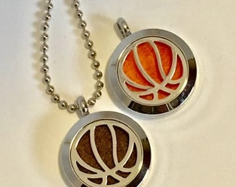 Basketball Diffuser Necklace - Sport's Fan - Essential Oil Diffuser Locket - Boy's Gift