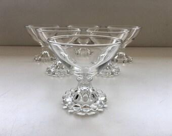 Vintage Candlewick Pedestal Glass Dessert Dishes Set of 6