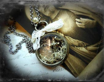 Long necklace, steampunk, reliquary, religious necklace