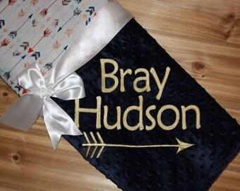 Arrows Blanket - Personalized Minky Baby Blanket -  Arrows Print