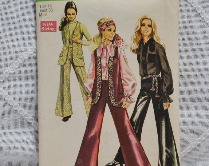 Vintage Simplicity 8530 Sewing Pattern Misses Vest Blouse Bell Bottom Pants Size 14 Crafts  DIY Sewing Crafts PanchosPorch