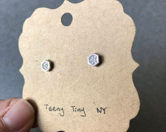 Silver Tiny CZ Hexagon Stud Earrings - Sterling Silver