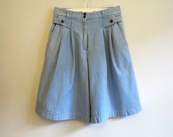 Blue Denim Shorts Vintage Women's Shorts Denim Bermudas Shorts Jeans Shorts High Waisted Shorts Medium Size