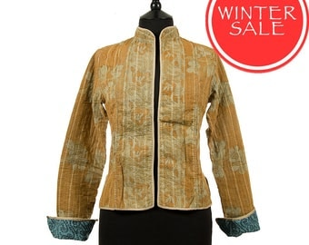 WINTER SALE - Small size - Short Kantha Jacket - Ochre and beige. Reverse turquoise and black.