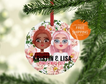 Personalized girlfriend Christmas ornament, mrs and mrs, lgbt couple gift