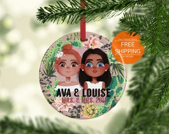 Wedding ornament, personalized portrait, lesbian Christmas gift, lgbt gift, couple ornament