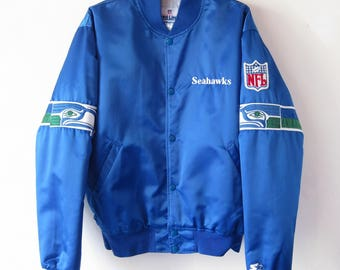 VTG 1980s Seattle Seahawks Starter Jacket Sz. L Large Coat Satin Button Up NFL ProLine