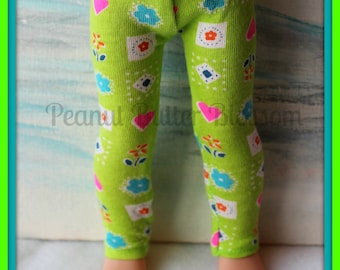 14.5 inch doll, such as Wellie Wisher, lime heart leggings