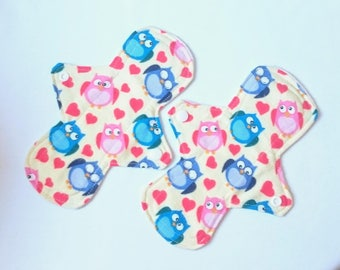 """Set of 2 Reusable Cloth Panty Liners - 8"""" - Owls"""