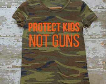 Protect Kids Not Guns t shirt WOMENS multiple color options, hunter orange ink) Protest Gun Violence by Fourth Wave Feminist Apparel
