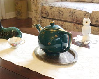 Vintage Hall Green Teapot Texas Gold Star with Gold Trim     USA