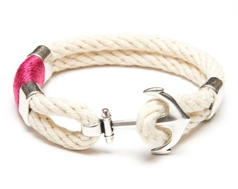 Nautical Rope Bracelet / Anchor Bracelet / Ivory Pink Anchor Bracelet / Silver Anchor Bracelet / Nautical Jewelry /Nautical Gift