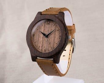 Wooden watch, wenge walnut wood watch. Personalized Wooden Watch. Sand leather strap. Fathers day, boyfriend gift. Engraving men wood watch.