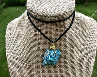 Blue Apatite Wire Wrapped Necklace: Handmade with Love & Light. Witch, Wiccan, Pagan, Goth, Magick, Crystal Healing, Bohemian, Boho, Hippie