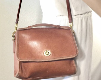 Coach Court,USA ,Purse, Bag, Shoulder Bag, Brown Leather, with top handle