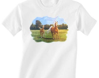 Toddler / Kids Equestrian Shirt - Long or Short Sleeve T-Shirt with Running Palomino Mare and Foal with Rainbow -Horse Clothing for Children