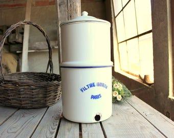French Enamel Water Filter - Vintage White Enamel - Filtre Buron Paris - Water Filter System - French Enamelware - Home Decor - Cottage Chic