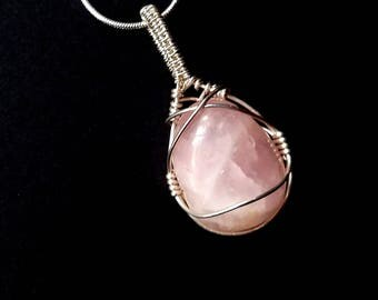 Rose Quartz Necklace, Pink Crystal Necklace, Pink Rose Quartz, Sterling Silver Wire, Valentines Gift, Rose Quartz, Wire Wrapped Necklace