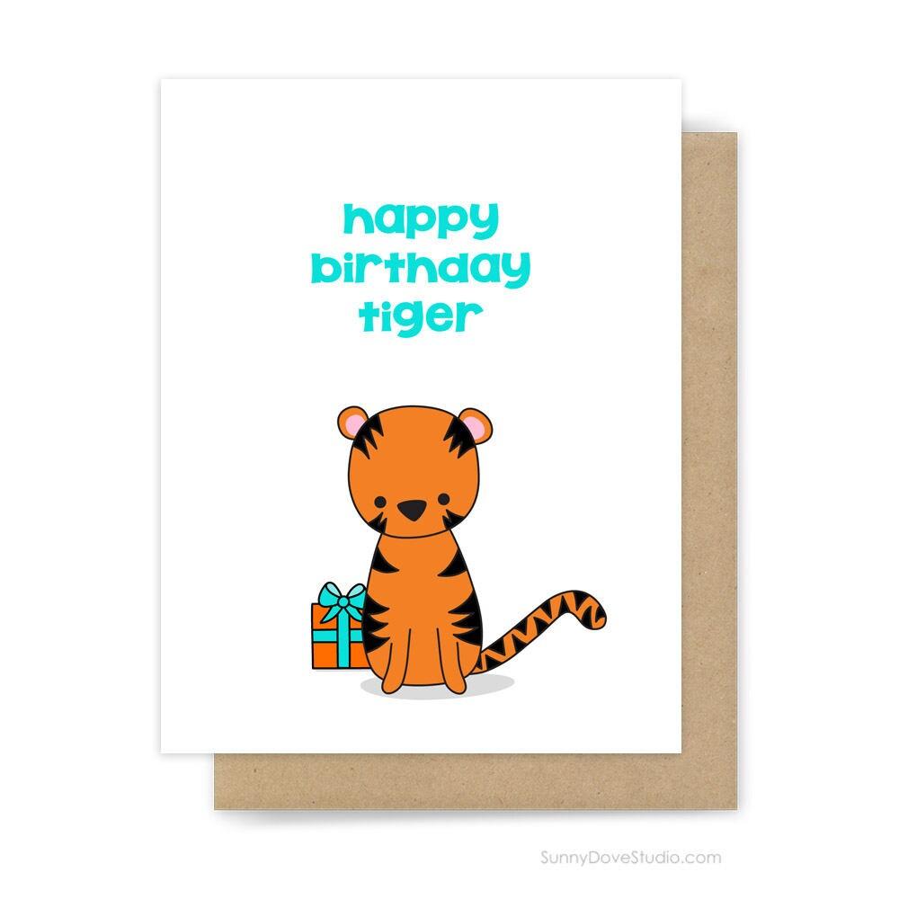 Funny Happy Birthday Card Boyfriend Husband Him Fun Tiger Pun