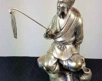 Vintage Japanese or Chinese Fisherman Statue Figurine Figure Silver Plated Early 1900's