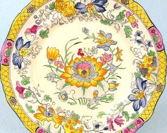 Striking Antique Plate, Mason's Antique, Jacobean Floral Pattern, C3859, Dinner Plate, Yellow Border, Unique Table Decor, Accent Piece, Old