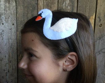 Swan Headband - hard band (from regular and 100% recycled plastic bottle felt)