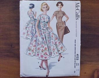 1957 McCall's 4123 Misses' Dress with Slim or Full Skirt Pattern- Size 18-Bust 38-Uncut