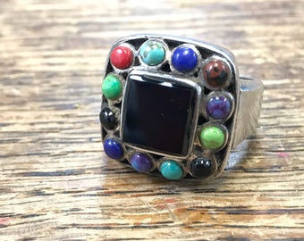 Black Onyx Ring Sterling Silver with Multi Stone Halo