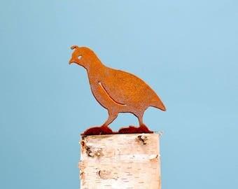 California Quail Chick Garden Art | Rusty Metal Quail Chick | Desert Decor | Quail Decor | Garden Gifts | Metal Garden Art | B747