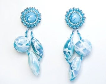 Earrings Novelove #Cluster earrings turquoise and white# pendants handmade #earrings for summertime #beadedearrings well crafted#madeinItaly