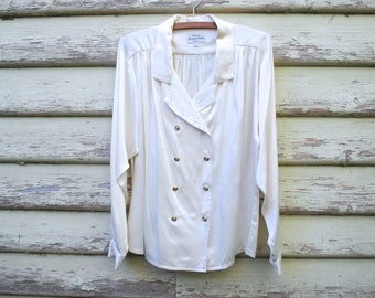 Vintage 80s Silk White Shirt Poet Ruched Blouse Double Breasted 1980s Retro Romantic Vtg Size M-L