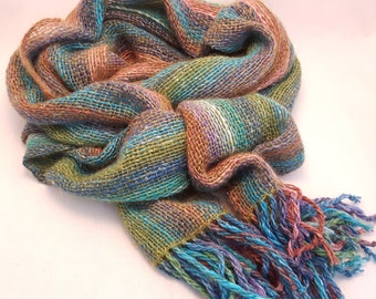 Hand Woven Striped Scarf in Lambs Wool, Kid Mohair and Silk