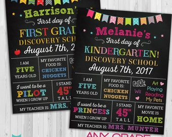 Back to School sign, First day of school sign, 1st day of school chalkboard , Back to School sign printable, First day of kindergarten Sign