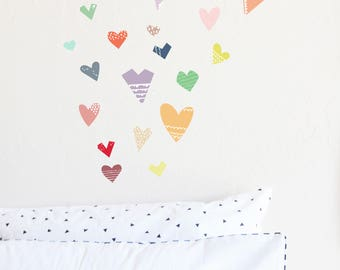 Wall Decal - Paper Cut Hearts - wall sticker - room decor