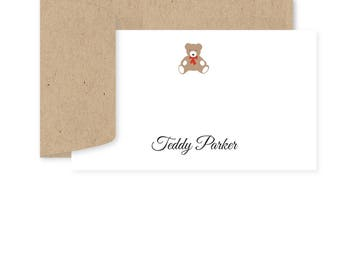 Personalized Birthday Gift Enclosure Cards, Teddy Bear, Set of 10
