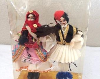 "Vintage Miniature 4"" 1950/1960's Traditional Folk Dressed Greek Cloth Plastic Dolls Man and Woman Painted Faces NIB"