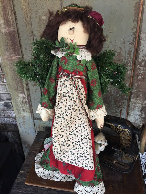 "OOAK Handmade - 25"" Christmas Girl Doll - Holly - Sparkles N Spirit"