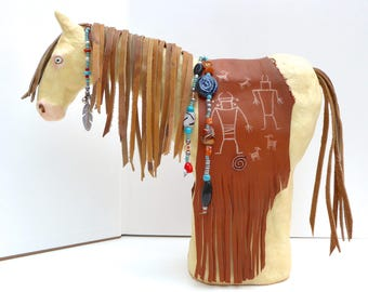 Native American Indian southwest style spirit horse pony model sculpture beaded tack leather Fremont ancient rock art figures Capitol Reef