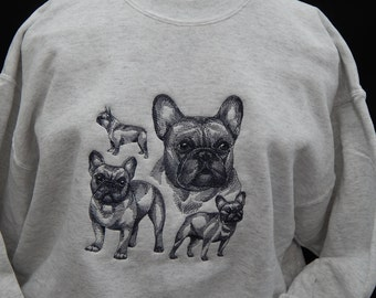 French Bulldog, embroidered sketch on sweatshirt