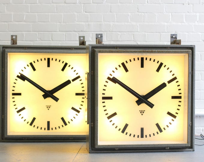 Large Light Up Factory Clocks By Pragotron Circa 1950s