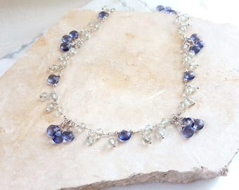 Iolite Green Amethyst Sterling Silver Long Gemstone Necklace Dangling Charm Layering Chain Navy Blue Mint High End Fine Jewelry Life Bijou