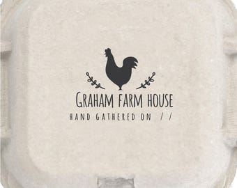 Farm House Eggs stamp - Custom name rubber stamp - chicken & flower Just Laid Date - Coop Laurel Labels Rubber Stamp Pre-inked Stamp RE945